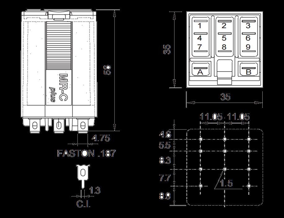Мощное реле C5-A20 X/24VAC, с переключающими контактами