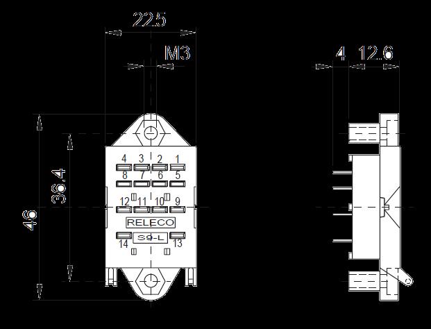 Розетка S9 L, для миниатюрных реле C9