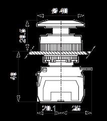 Кнопка грибовидная T11AD01-3E01 красная, модульная